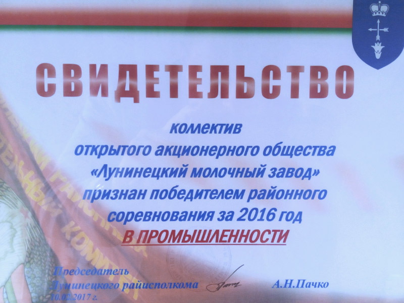 Certificate of the winner of the regional competition 2016