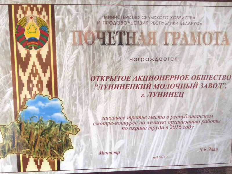 Certificate of honor of the winner of the competition on labor protection 2017